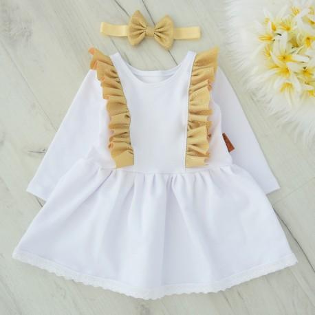 Sukienka złoto biała z opaską.
