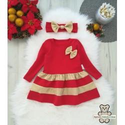 Sukienka świąteczna złoto czerwona z opaską.